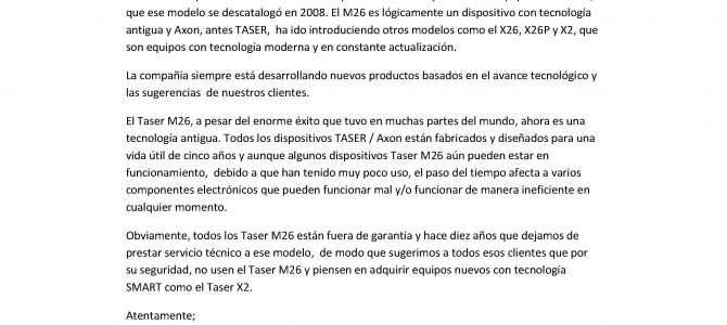 Comunicado de Axon-Taser sobre los dispositivos Taser M26