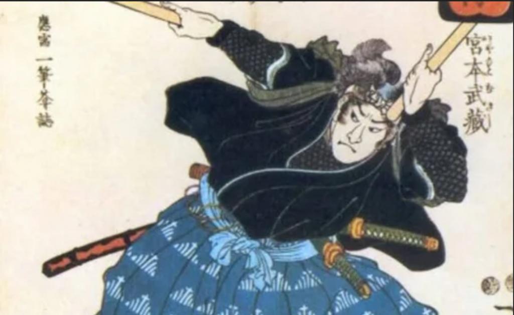 representacion de un samurai empleando un arma no letal